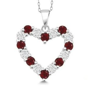 New sterling silver 1.3 ct red ruby heart pendant